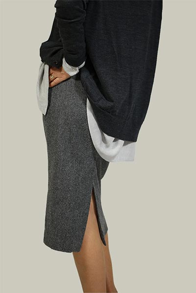 Pencil Skirt Sewing Pattern by Angela Kane in grey wool fabric image