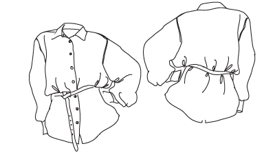 Technical drawing of Classic Shirt Sewing Pattern. Online downloadable PDF Sewing Patterns 540 designed by Angela Kane