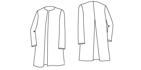 Technical drawing of the Soft Tailored Jacket PDF Sewing Pattern 615 to Download,