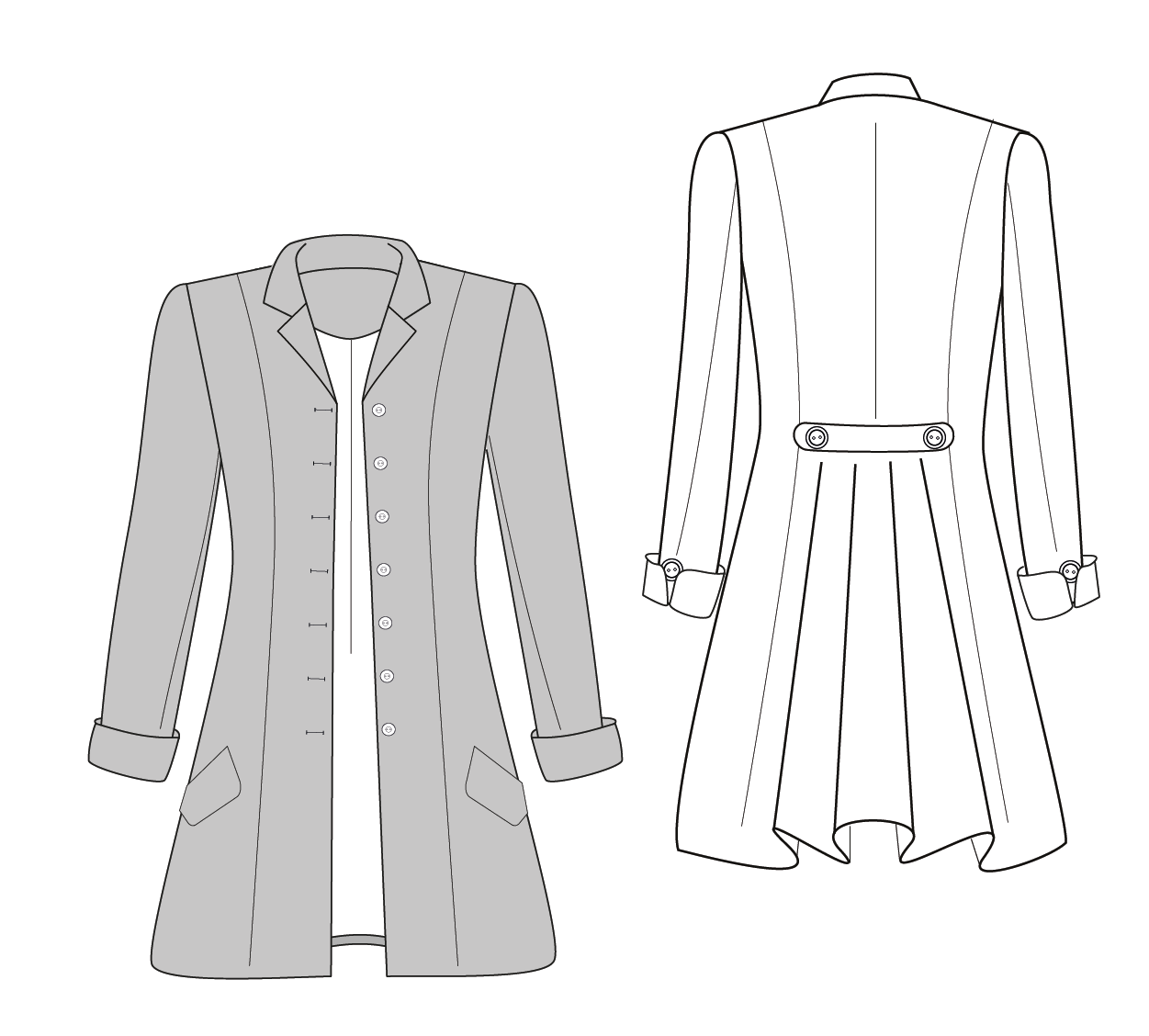 Drawing of the Frock Coat Sewing Pattern designed by Angela Kane