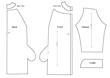 Diagram of Sewing Pattern Pieces of Sewing Pattern the Yoked & Gathered Coat, On Line Downloadable PDF Sewing Pattern 673