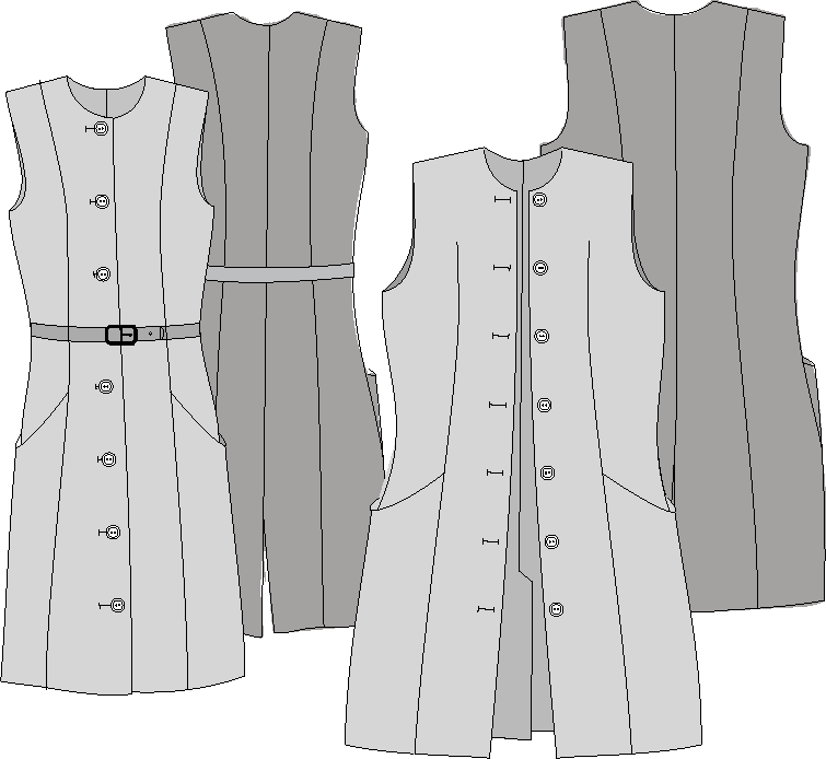 Technical drawing of Princes Line Sewing Pattern, PDF See the Sewing Pattern Details 702