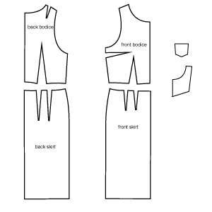 Diagram of Pinafore Dress sewing pattern pieces. Online download PDF Sewing Pattern