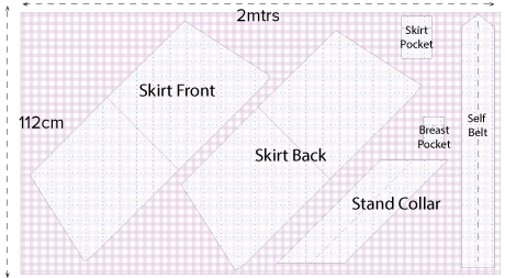 Diagram showing the cutting out layout for the Extras Sewing Pattern. An online download PDF sewing Pattern.  An Angela Kane design.