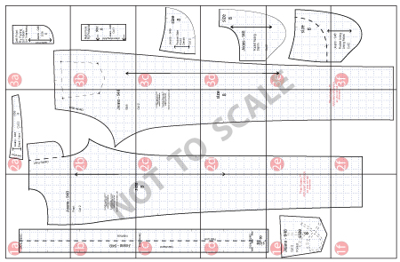 Cutting Out Fabric Diagram for Downloadable PDF Patterns