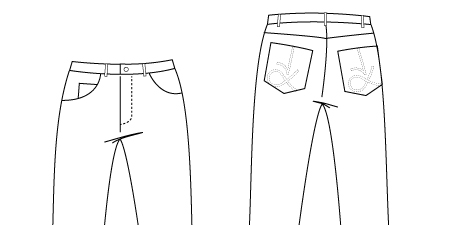 Technical drawing of Jeans PDF Sewing Pattern 948