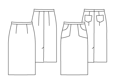 Pencil Skirt Sewing Pattern, technical  drawing of the pencil skirt
