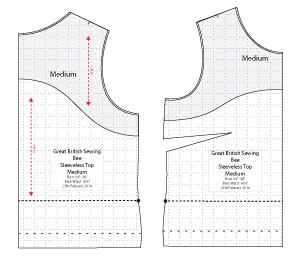 Diagram of Free Sewing Pattern of Sleeveless Top for the Great British Sewing Bee. Online downloadable Free PDF Sewing Patterns. Designed by Angela Kane