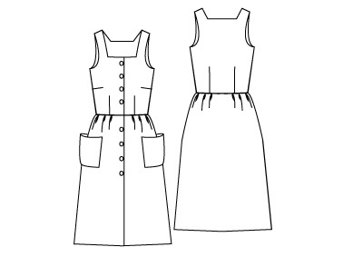 Technical drawing of Sun Dress Sewing Pattern. Online downloadable PDF Sewing Patterns 783 designed by Angela Kane